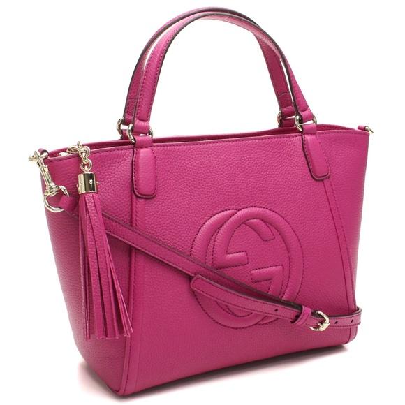 b66ba7a65da0 Gucci Fuchsia Pink Leather Soho Handbag 369176